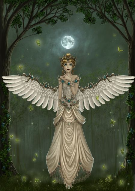 angel and the moon