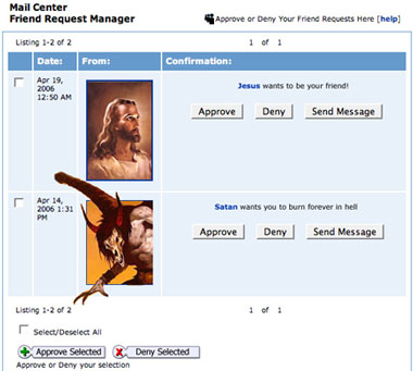 jesus and satan friend request myspace