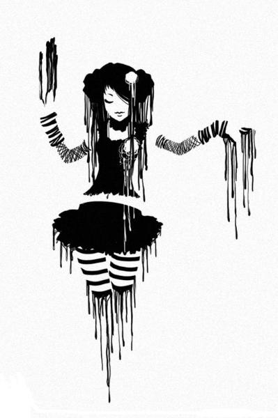 gothic girl melting