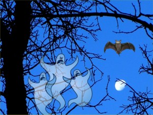 ghosts in the trees with bat and moon