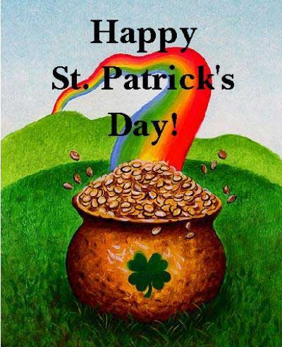 happy st patricks day pot of gold