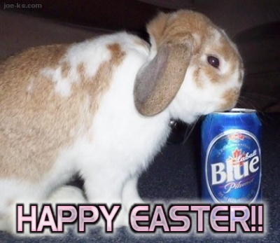 happy easter bunny drinking beer