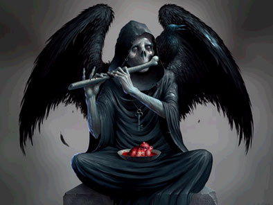 skeleton angel playing bone flute