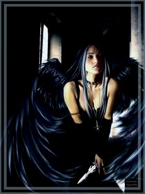 sexy dark angel with daggers