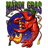 mari gras shrimp playing saxaphone