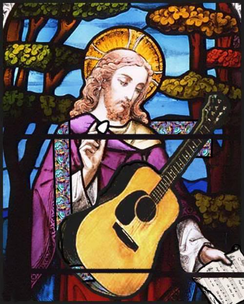 Jesus playing guitar