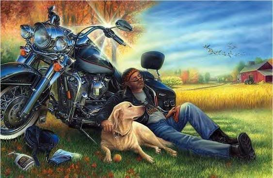 man and dog and motorcycle