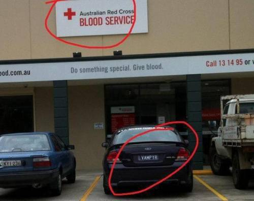 vampire car at blood bank