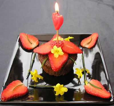 strawberry muffin candle