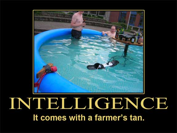 intelligence it come's with a farmer's tan