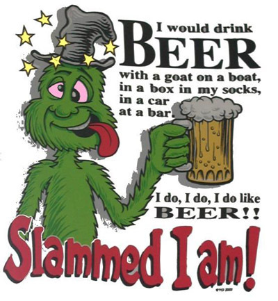 Grinch drinking beer
