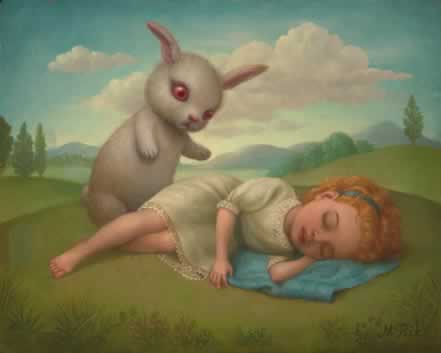rabbit approaches sleeping girl