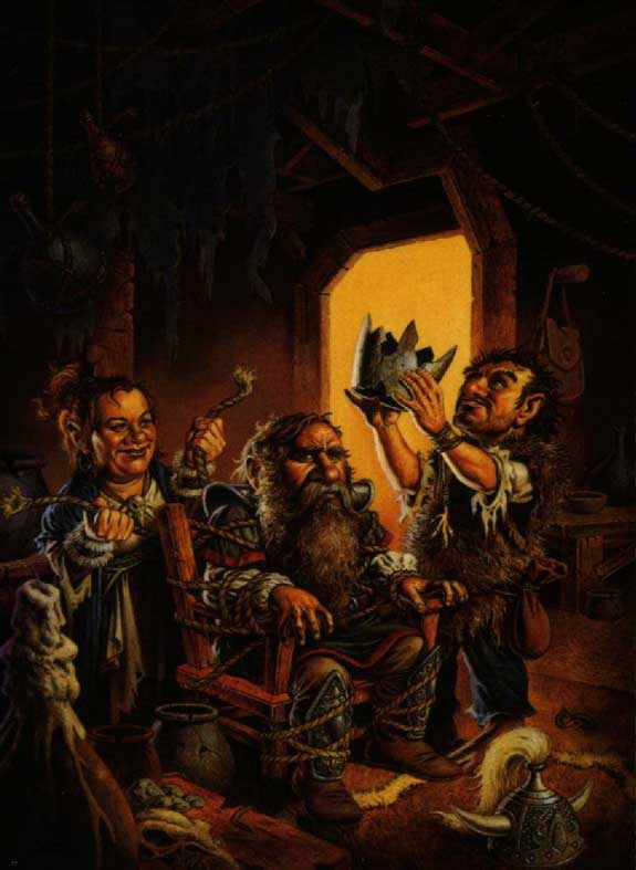 dwarf is tied up and robbed