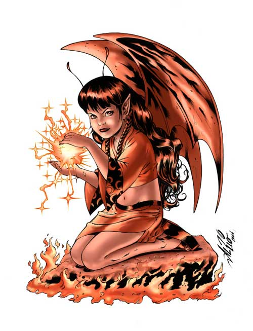 devil girl with lightning ball