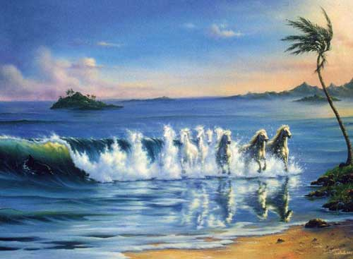 horses running out of water