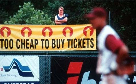 too cheap to buy tickets at baseball game