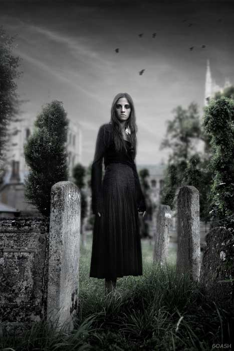 gothic girl in cemetary