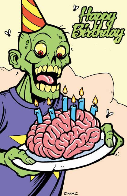happy birthday zombie with brain cake