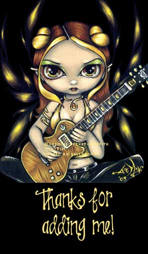 thanks for adding me girl playing guitar