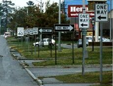 lots of one way signs