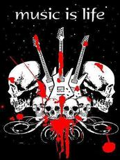 music is life guitars and skulls