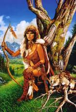 native american female with bow and arrows