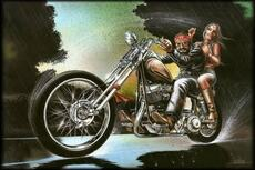 man and sexy woman on motorcycle